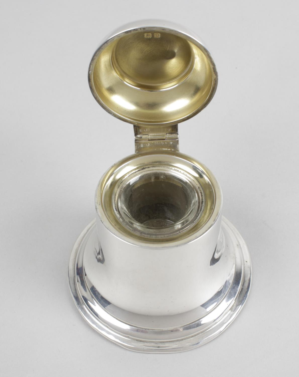 Lot 101 - A silver mounted bell shape inkwell,
