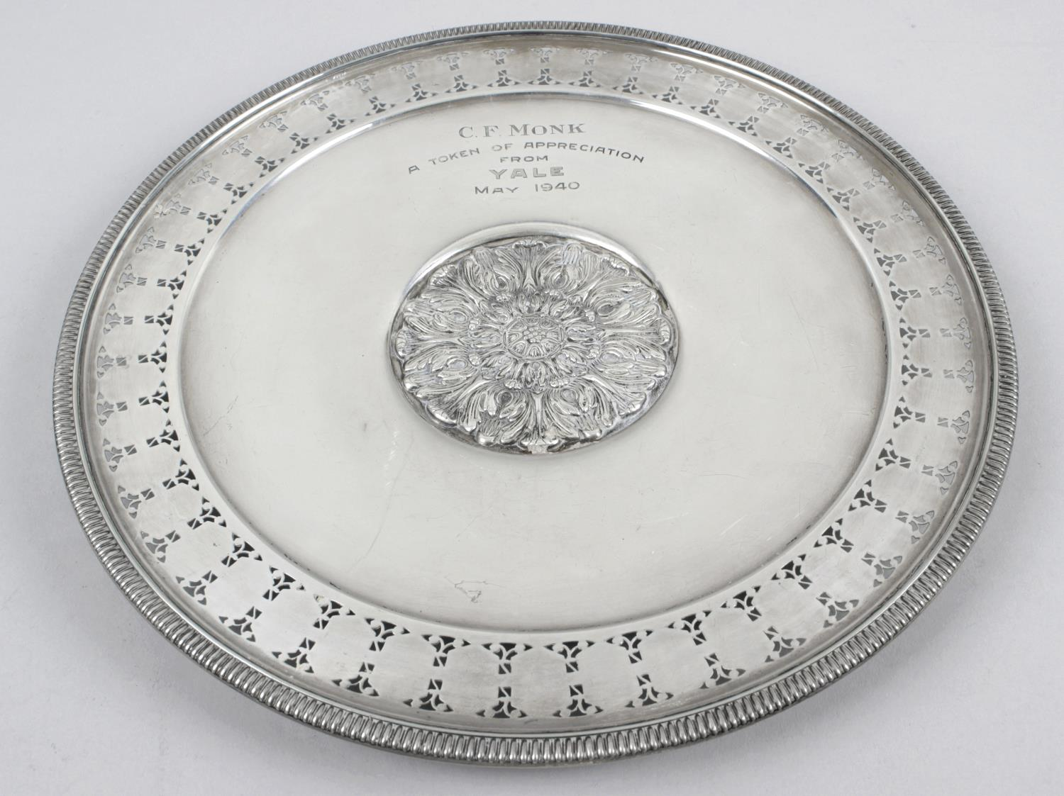 Lot 140 - An American sterling silver presentation plate,