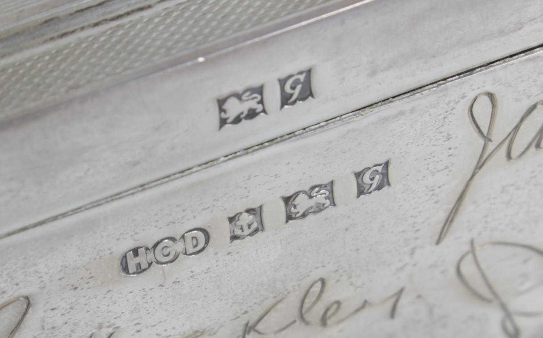 Lot 149 - A mid-twentieth century silver mounted table cigarette box,