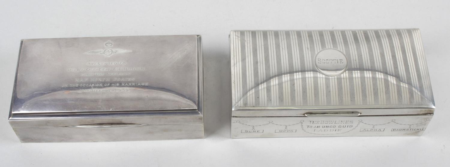 Lot 146 - Three silver mounted table cigarette boxes,