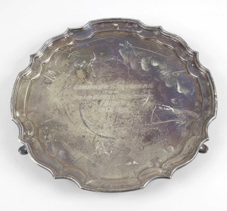 Lot 154 - A 1940's silver presentation salver,