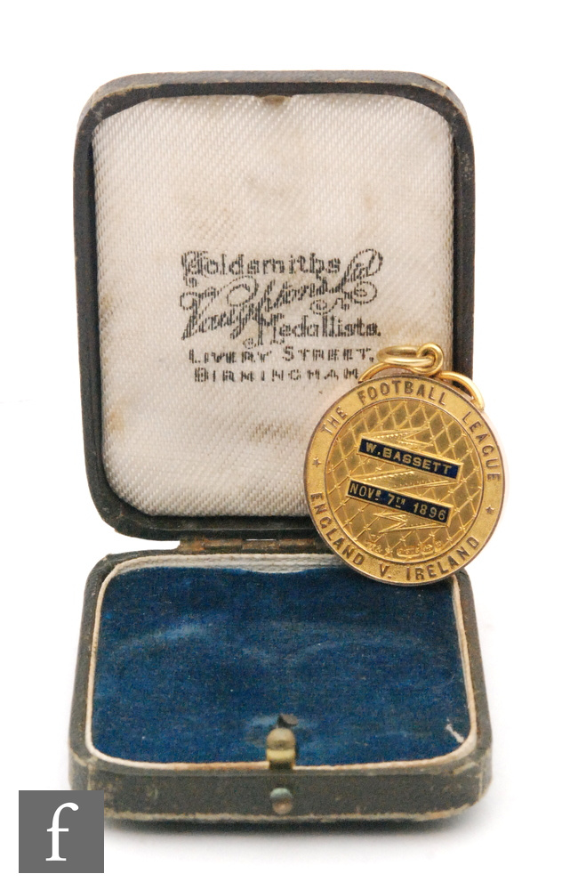 A late 19th Century 9ct hallmarked Football League medal awarded to William (Billy) Bassett of West - Image 2 of 2