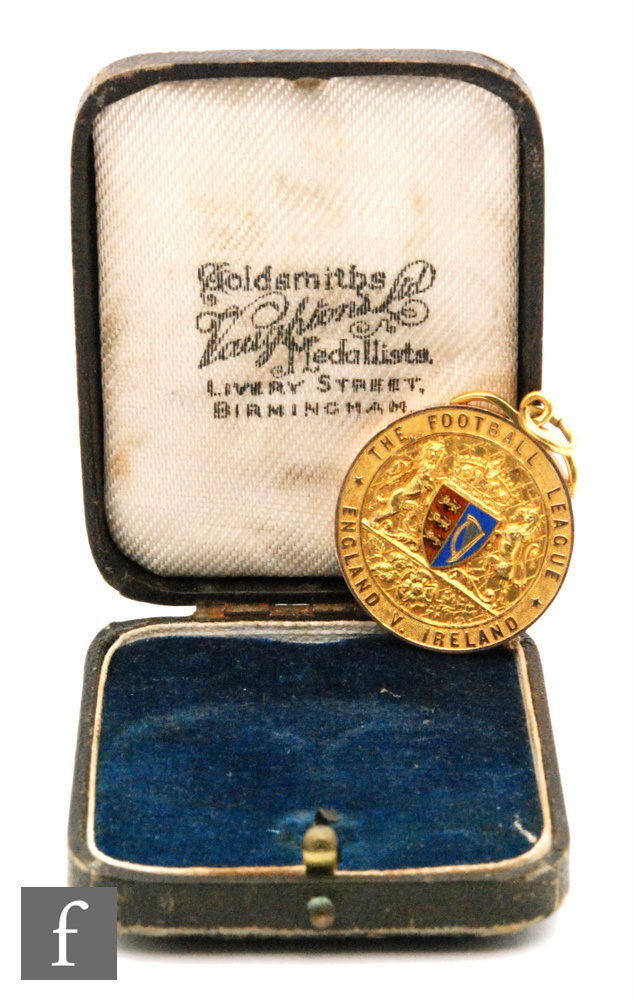 A late 19th Century 9ct hallmarked Football League medal awarded to William (Billy) Bassett of West