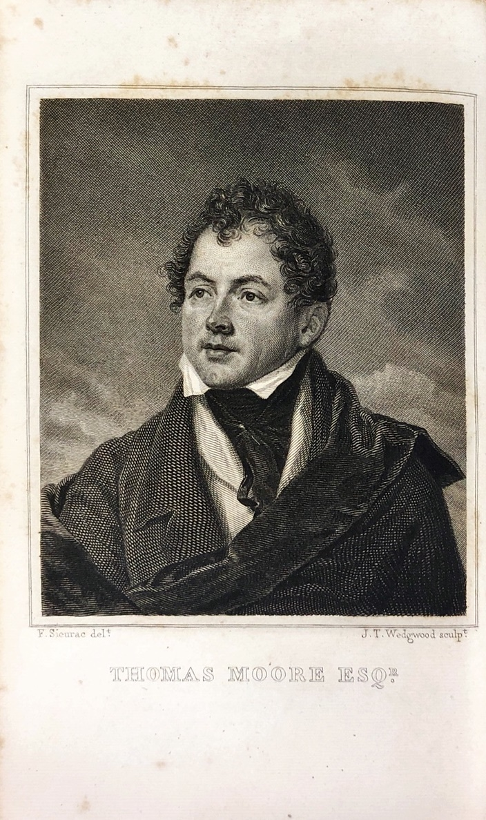 Lot 4 - Moore - The Works of Thomas Moore, 6 vols. 12mo Paris 1823. Cont. full calf, mor.