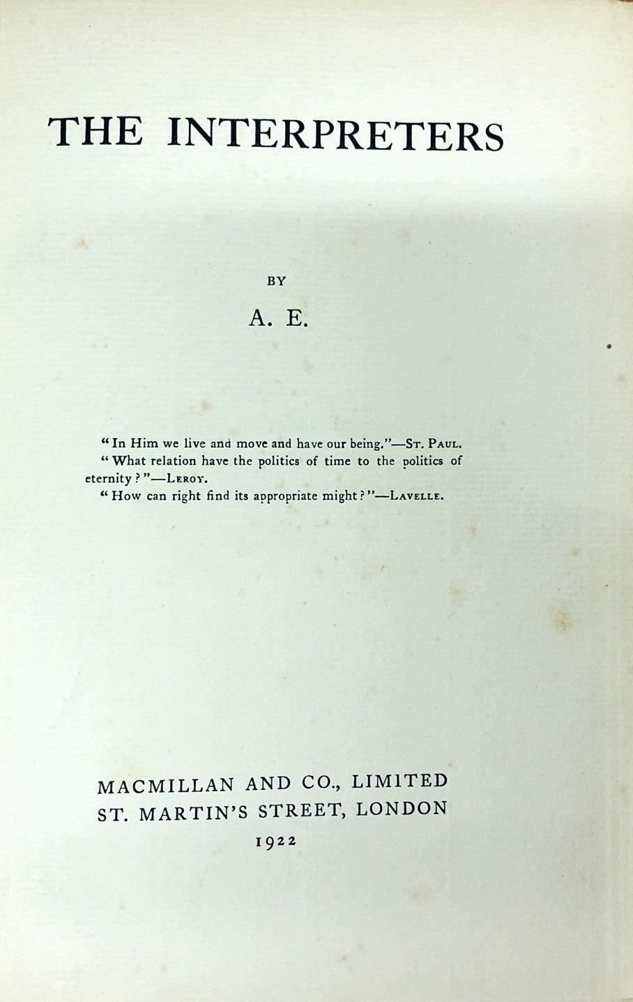 Lot 7 - Russell (Geo) 'A.E.' - The Interpreters, L. 1922. First Edn., orig. & orig. d.w.