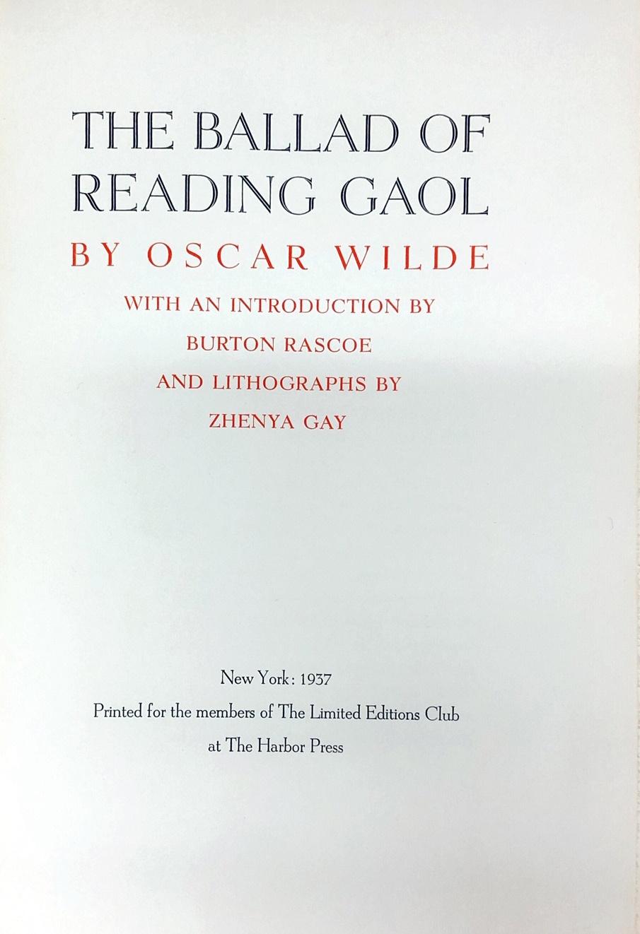 Lot 52 - Limited Editions Club Publications Wilde (Oscar) The Ballad of Reading Gaol, illus.