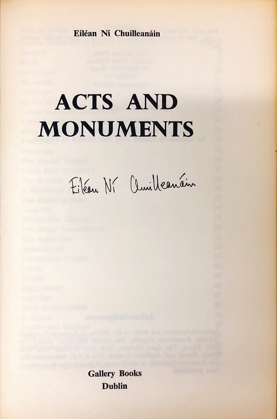 Lot 25 - Irish Female Poets: Ní Chuilleanáin (Eileán) Acts and Monuments, Gallery 1972; Site of Ambush,