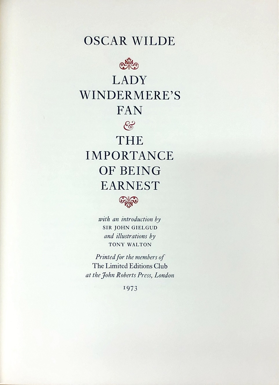 Lot 54 - Limited Editions Club Publications Wilde (Oscar) Lady Windermere's Fan & The Importance of Being