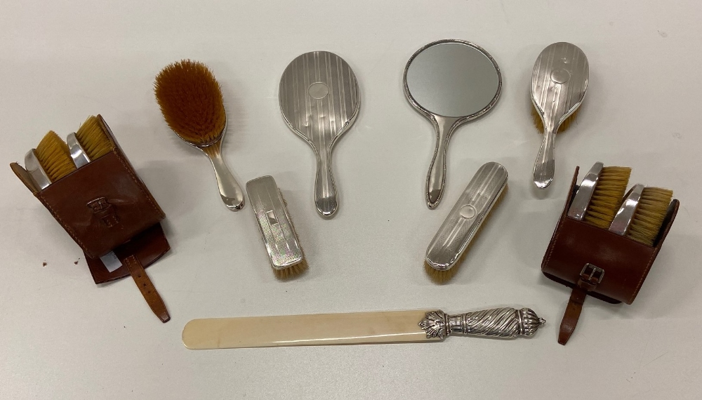 Lot 3 - A matching set of silver Brushes & Mirrors, some in leather cases, and a long ivory Letter Opener,
