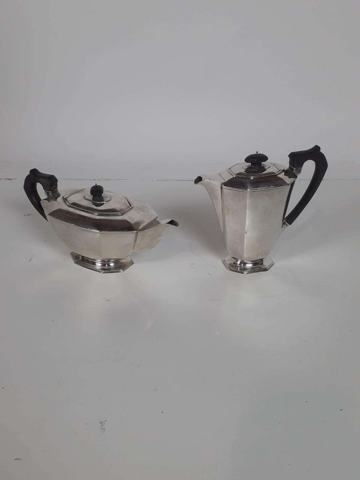Lot 19 - A modern Sheffield silver octagonal shaped Teapot and Coffee Pot, c.