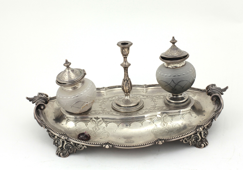 Lot 22 - An attractive and unusual engraved silver Desk Ink Stand, with two cutglass bottles,