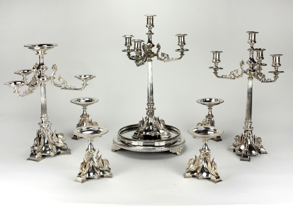 Lot 7 - An important Victorian period Egyptian Revival style eight piece silver plated Table Suite,