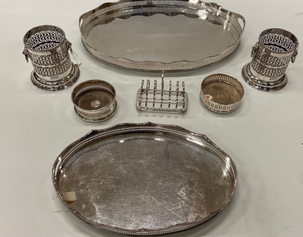 Lot 2 - A fine large Victorian silver pierced oval Tea Tray,