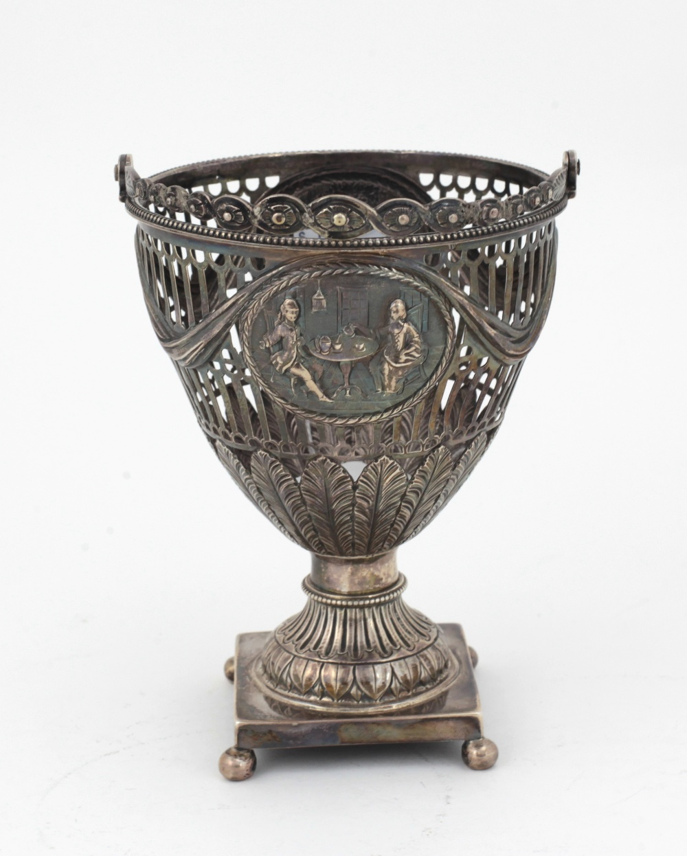 Lot 29 - An attractive 18th Century English pierced silver Urn, decorated in the Adams taste,