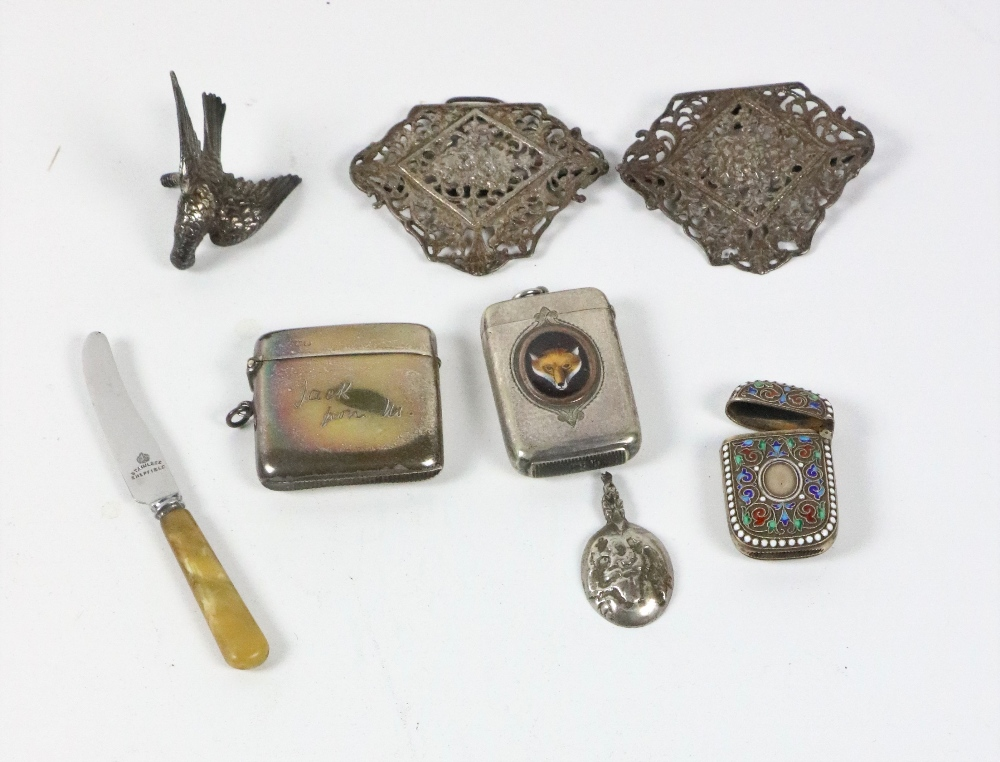 Lot 57 - A collection of varied silver Trinkets, including a silver and enamelled Norwegian Match Box, c.