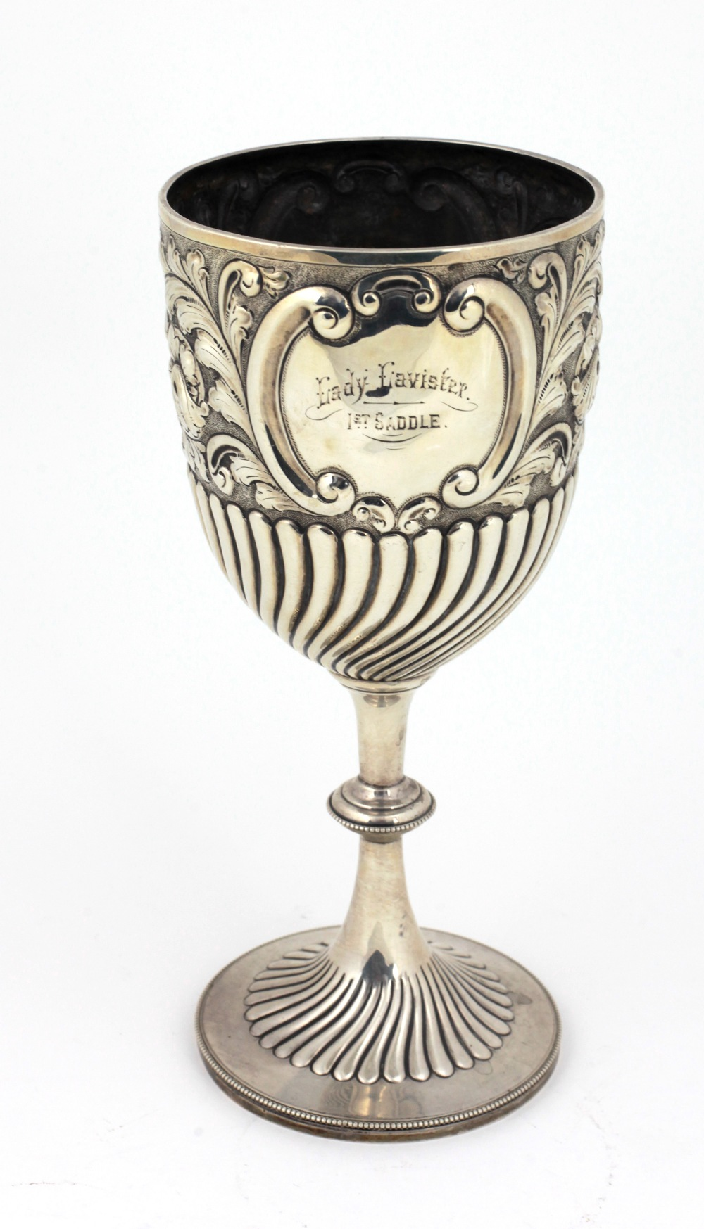 Lot 21 - A tall silver Cup, with repoussé decoration and inscription 'North Wales Horse Show, Chester 1905',