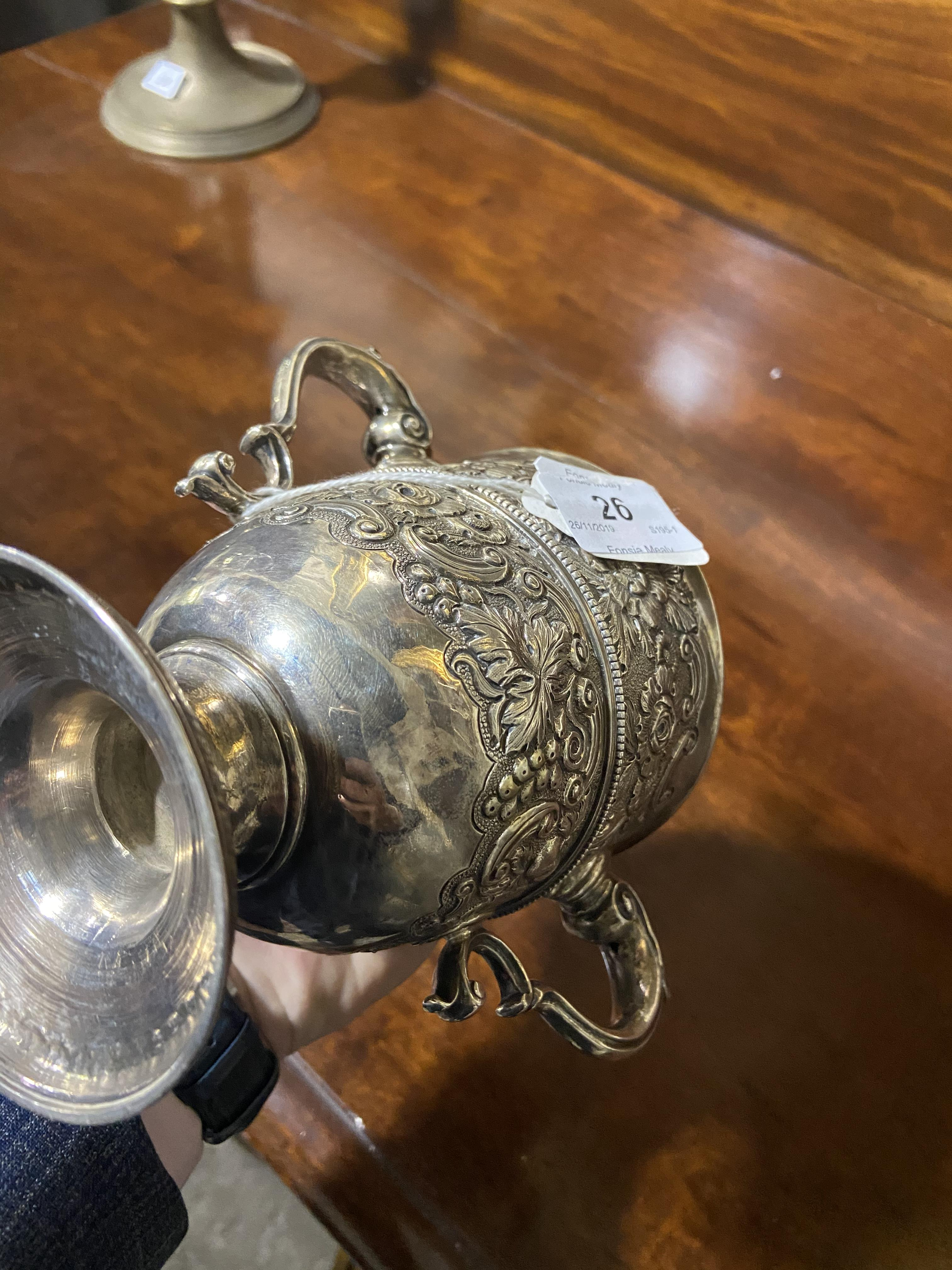 """Lot 26 - A heavy two handled 18th Century Irish silver Trophy Cup, with """"S"""" scroll hands,"""