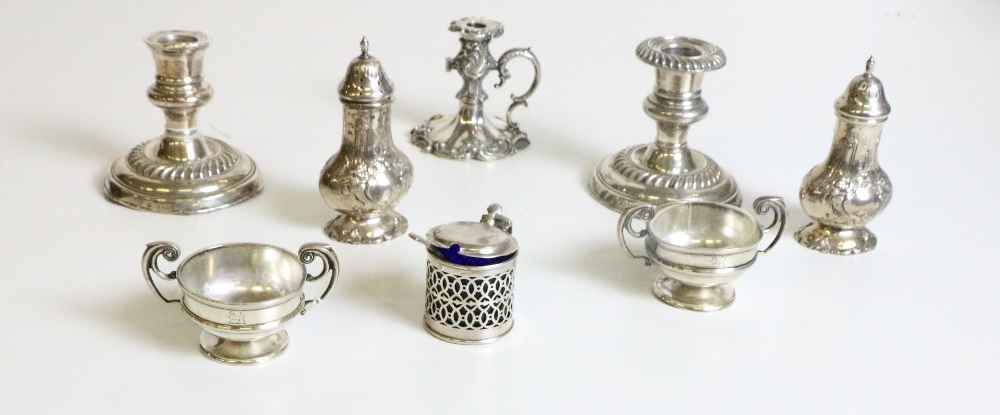 Lot 42 - Silverware: A collection of varied Condiments, including mustard ports, salts and peppers,