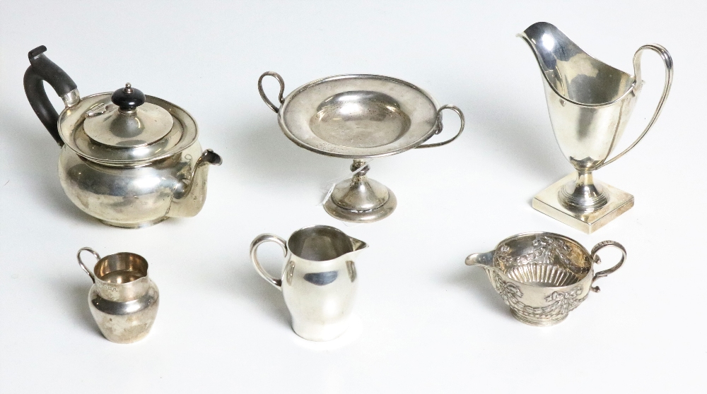 Lot 52 - Silverware: A collection of late 19th Century silver Items: including a tazzi, a cream jug,
