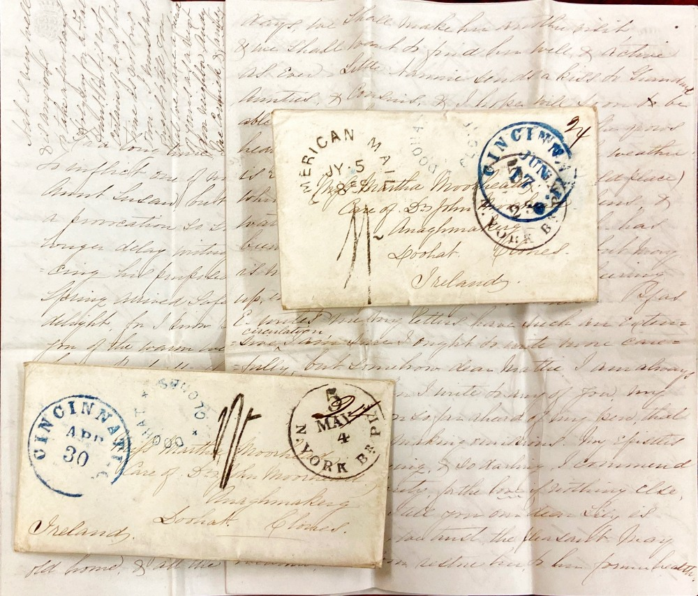 Lot 525 - Letters from Cincinnati to Family in Monaghan, 1858 Co.
