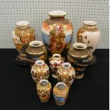 "Lot 10 - Assortment of Japanese Satsuma vases, the tallest 12"" high (10)"