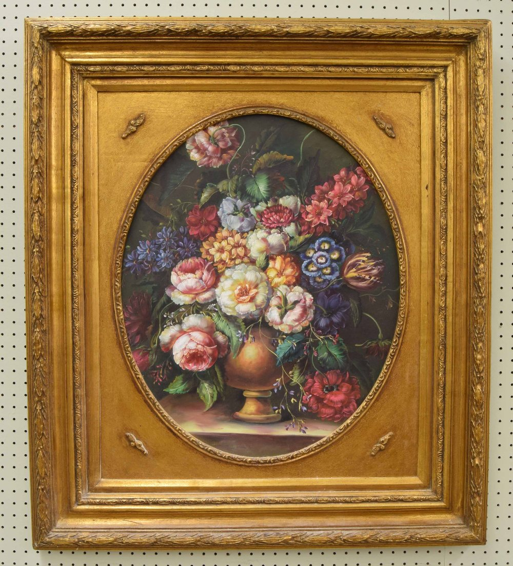 """Lot 225 - 20th/21st century - Still Life of assorted flowers in a brown vase, oil on canvas, 21"""" x 17"""" (oval)"""