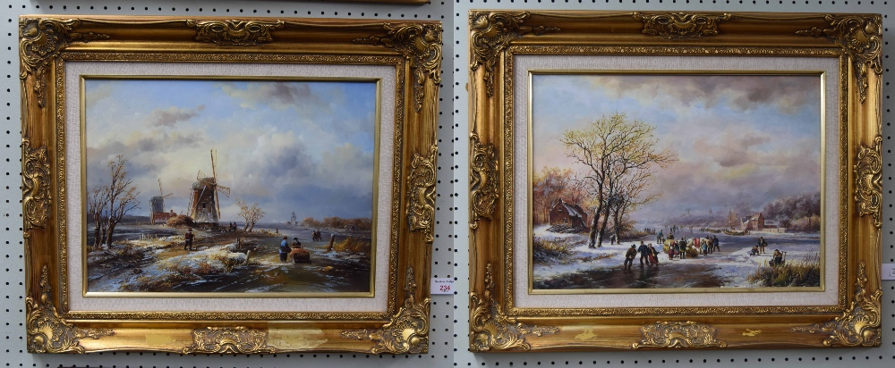 Lot 234 - B**Owen (20th/21st century) - Winter landscape with Figures on the ice and a Windmill nearby,