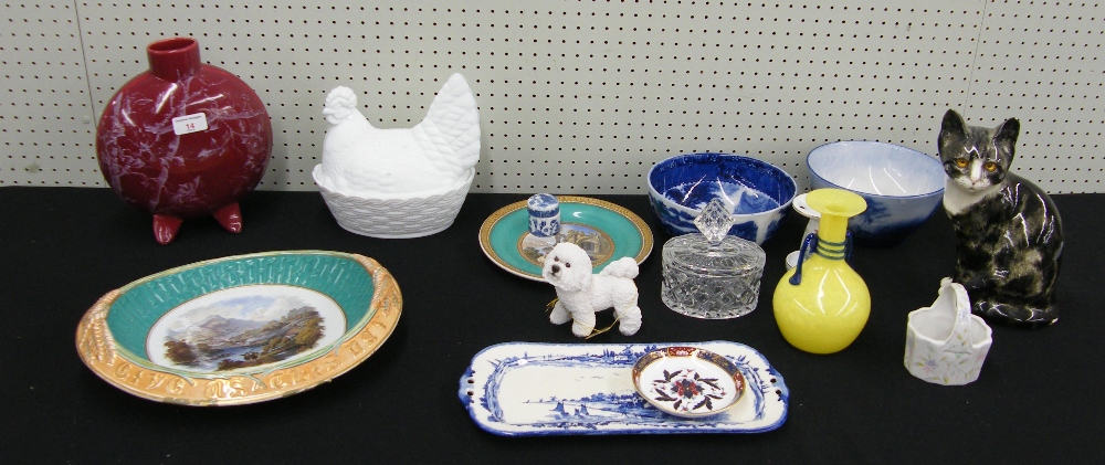 """Lot 14 - Opaque pressed glass hen tureen and cover, 7.75"""" high; pottery moon flask vase, pottery cat"""