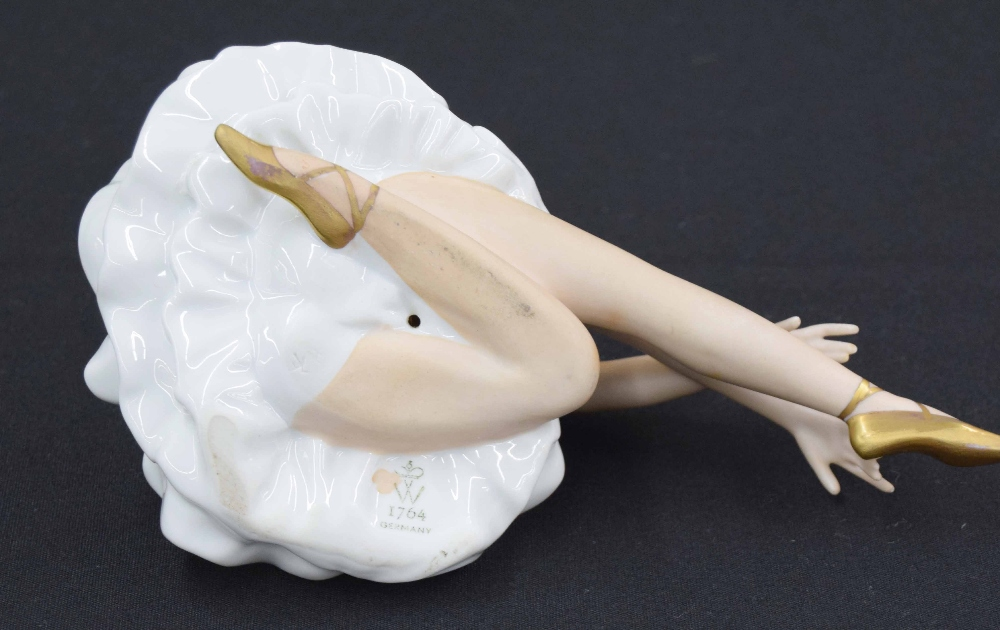 "Lot 88 - Wallendorfer porcelain figure of a ballerina, printed factory mark, 8"" long"