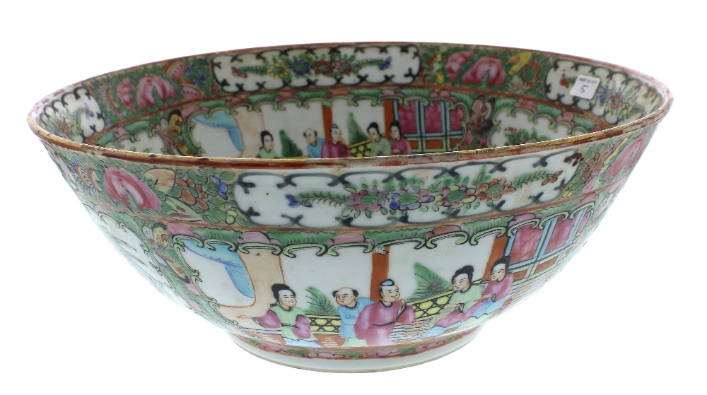 "Lot 5 - Chinese Cantonese famille rose circular bowl, 12"" diameter; Continental pottery ewer, Chinese ginger"