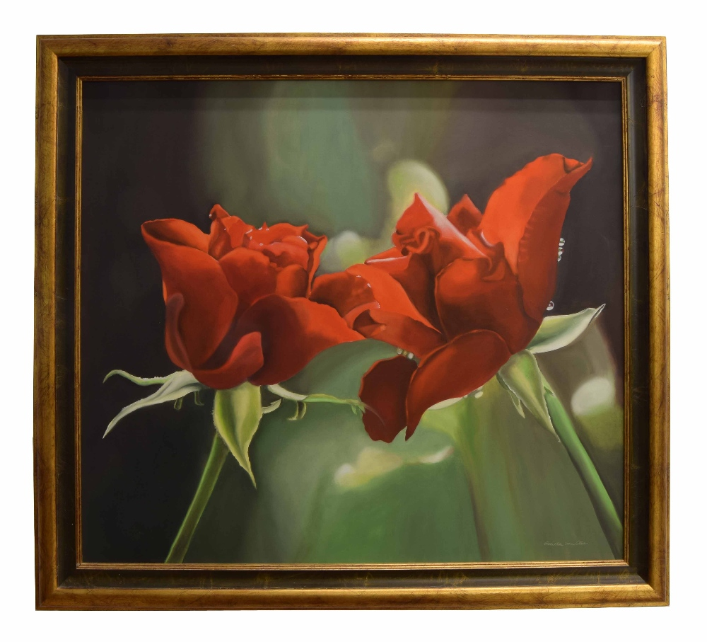 """Lot 217 - •Edith von Clee (b. 1940) - Two Red Roses, signed, oil on canvas, 31.5"""" x 35.5"""" **With the"""