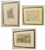 """Lot 241 - 'The Environs of Bath', a small map, a later coloured print after G.Havell, together with """"The"""