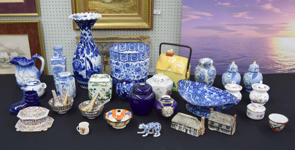"""Lot 12 - Chinese blue and white porcelain vase with a frilled rim, 14.25"""" high; blue and white transfer"""