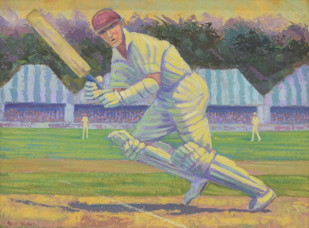 """Lot 222 - Gerry Wright (20th/21st century) - """"The Winning Run"""", a cricketer, signed, also inscribed verso"""