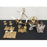 Lot 4 - Mixed metal ware including a decorative brass desk stand with glass ink wells, set of postal rates