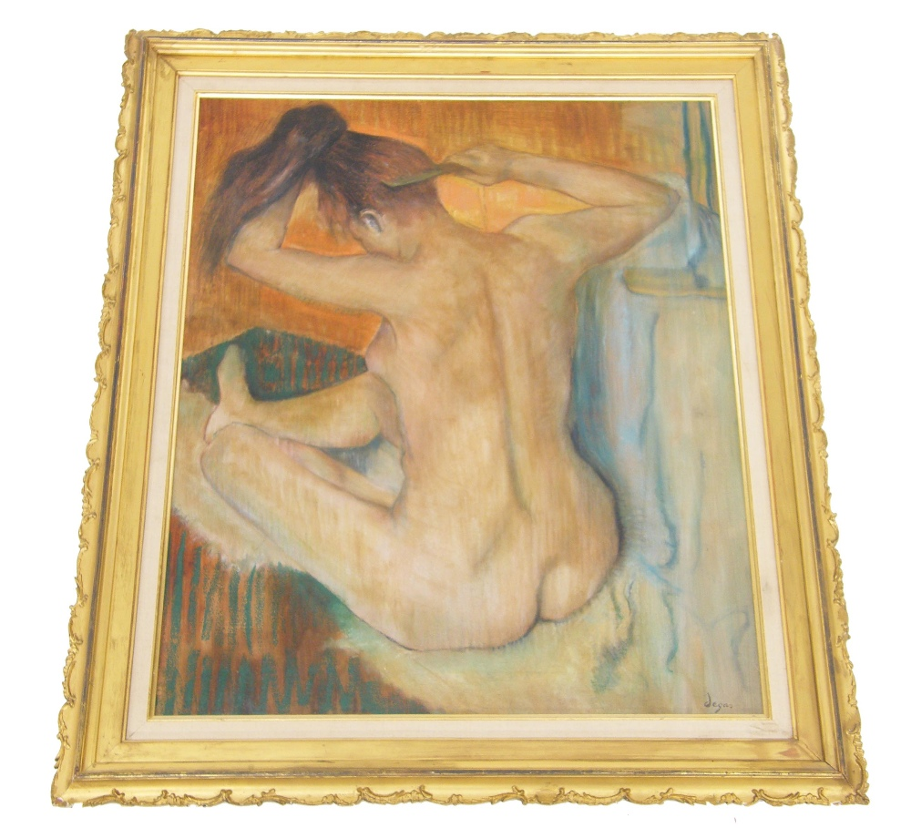 Lot 220 - David Stein after Edward Degas (20th century) - Naked girl combing her hair, inscribed with the