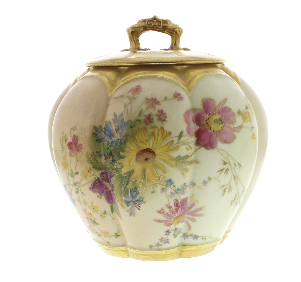 Lot 55 - Royal Worcester blush ivory circular lobed porcelain vase and cover painted with traditional