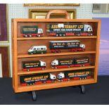 "Lot 87 - Corgi - six assorted Eddie Stobart diecast transit vehicles in a bespoke glazed carry case, 24.5"""