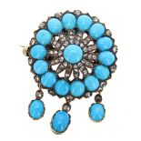 Lot 453 - Attractive Victorian diamond and turquoise circular flower brooch in a yellow metal surround, 10.