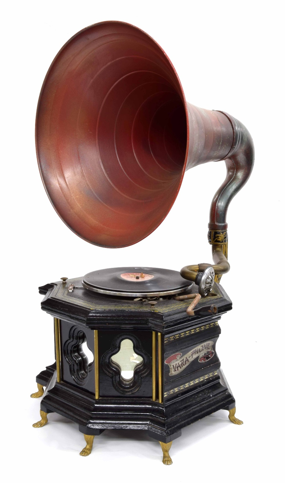 Lot 622 - Vara-Phone wind-up table gramophone, with HMV no. 5B sound box, within an elaborate architectural