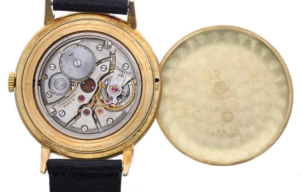Lot 40 - IWC (International Watch Co.) Schaffhausen 18k gentleman's wristwatch, signed circular dial with