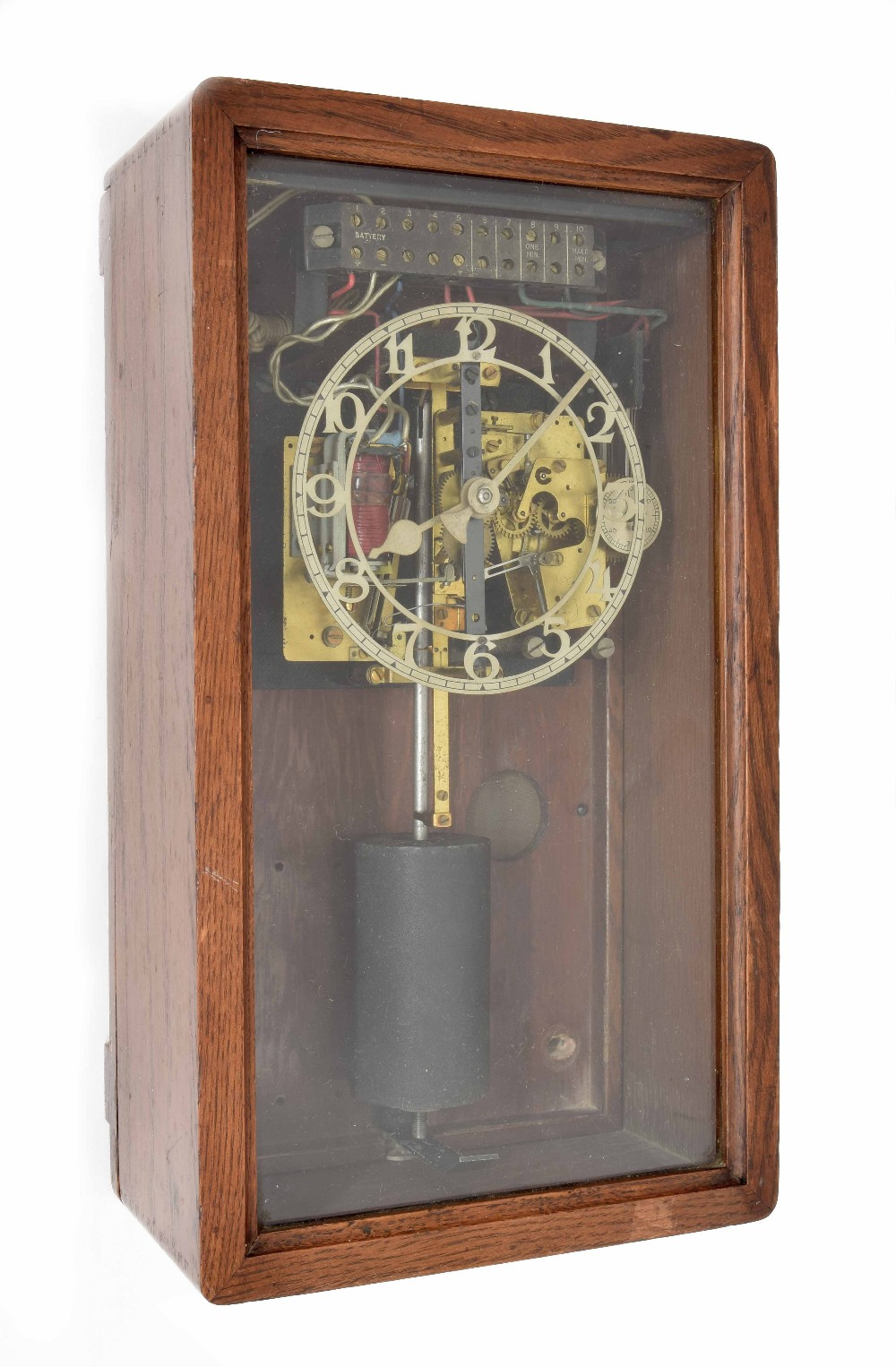 "Lot 1183 - TMC (Telephone Manufacturing Company) half second electric master clock in short 16"" high wall"