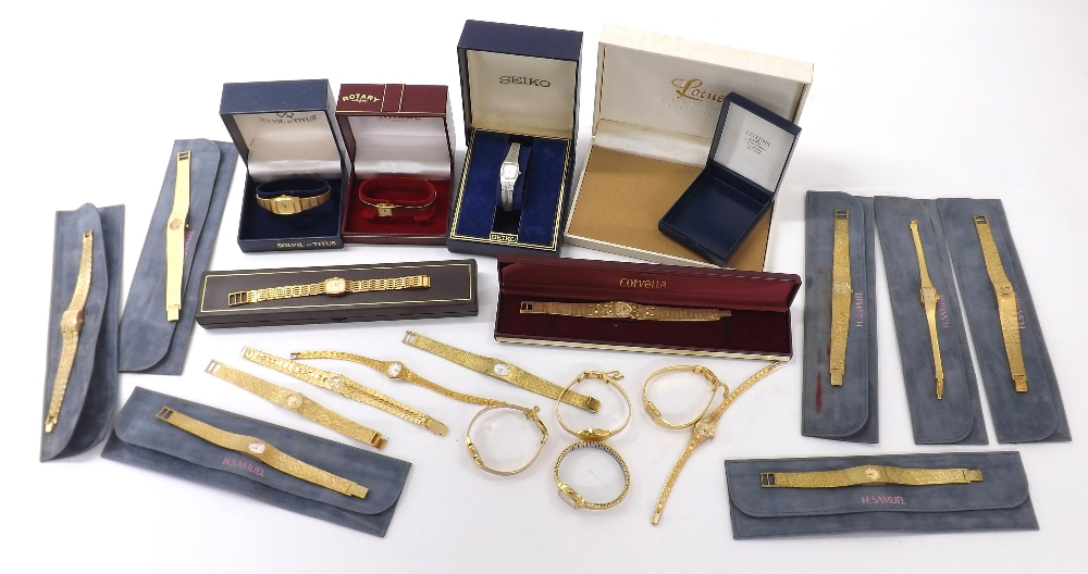 Lot 1907 - Collection of ladies quartz bracelet watches to include Seiko, Rotary, Everite, Corvette,