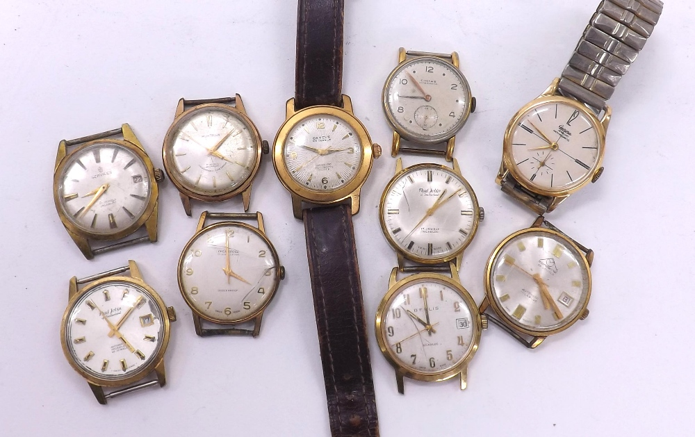 Lot 1923 - Ten various gold plated and stainless steel gentleman's wristwatches to include Mondaine, Ingersoll,