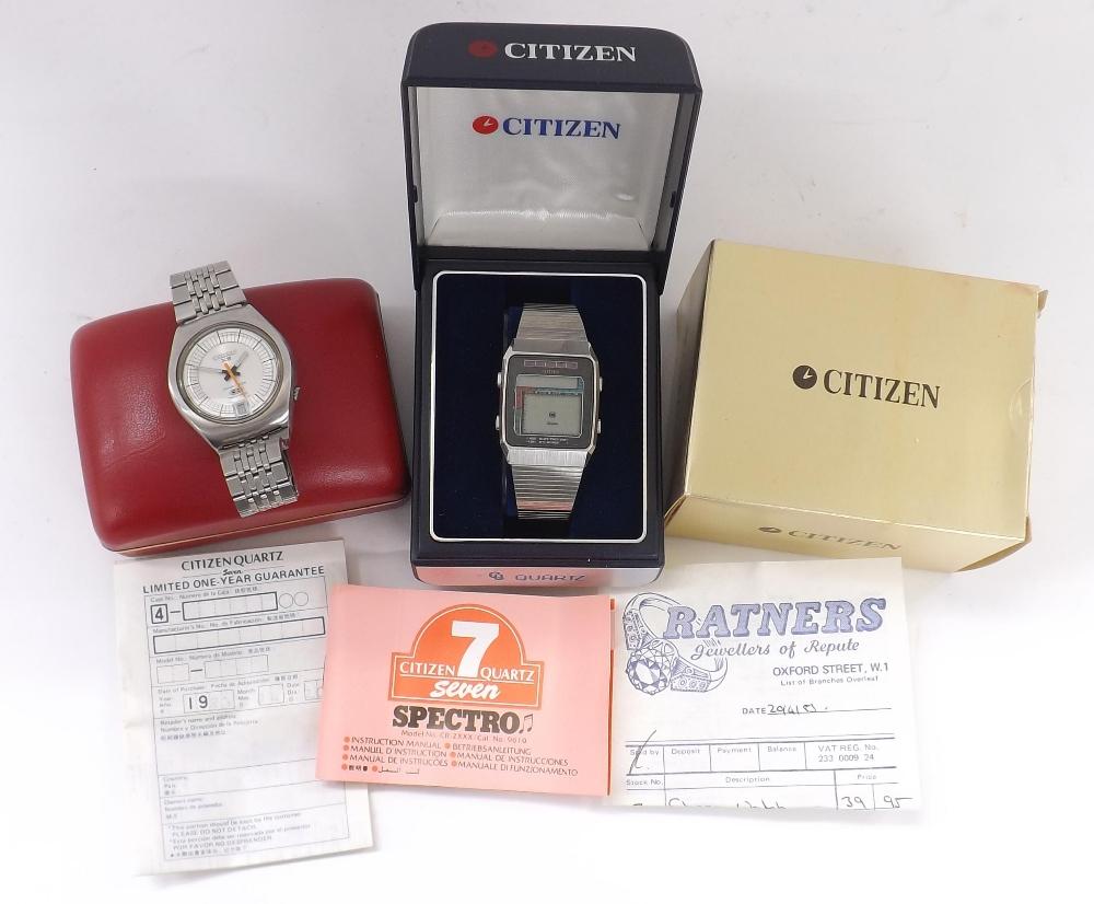 Lot 1890 - Citizen Seven Spectro digital stainless steel gentleman's bracelet watch, ref. 9610-084233,