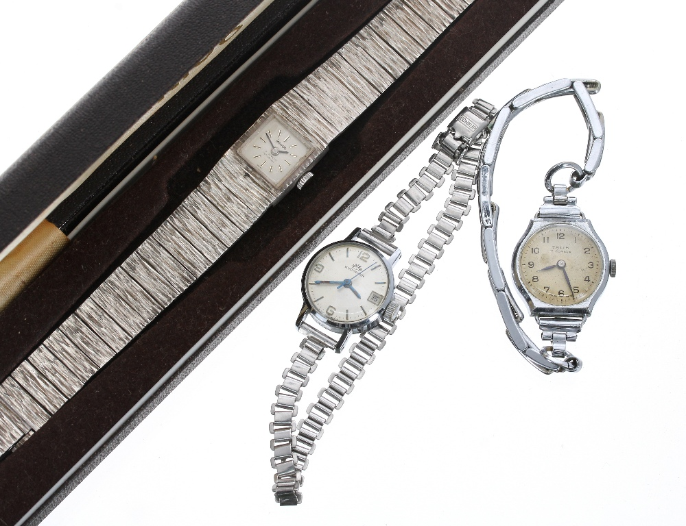 Lot 1906 - Imado silver lady's bracelet watch, 16mm, boxed; with a Bucherer vintage lady's watch and another (