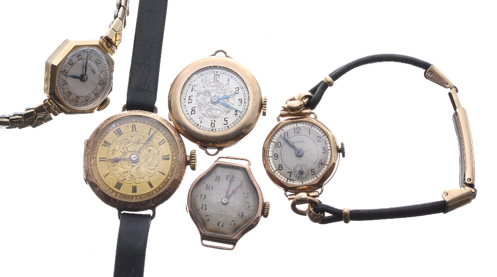Lot 1912 - Three 9ct ladies wristwatches to include a foliate engraved wire-lug wristwatch (converted from a