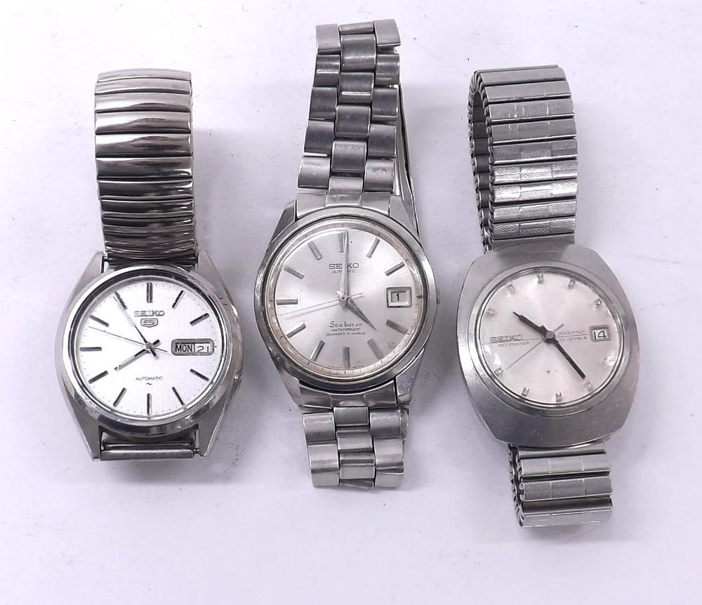 Lot 1873 - Seiko Selfdater automatic stainless steel gentleman's bracelet watch, ref. 6205-7980, 36mm; together
