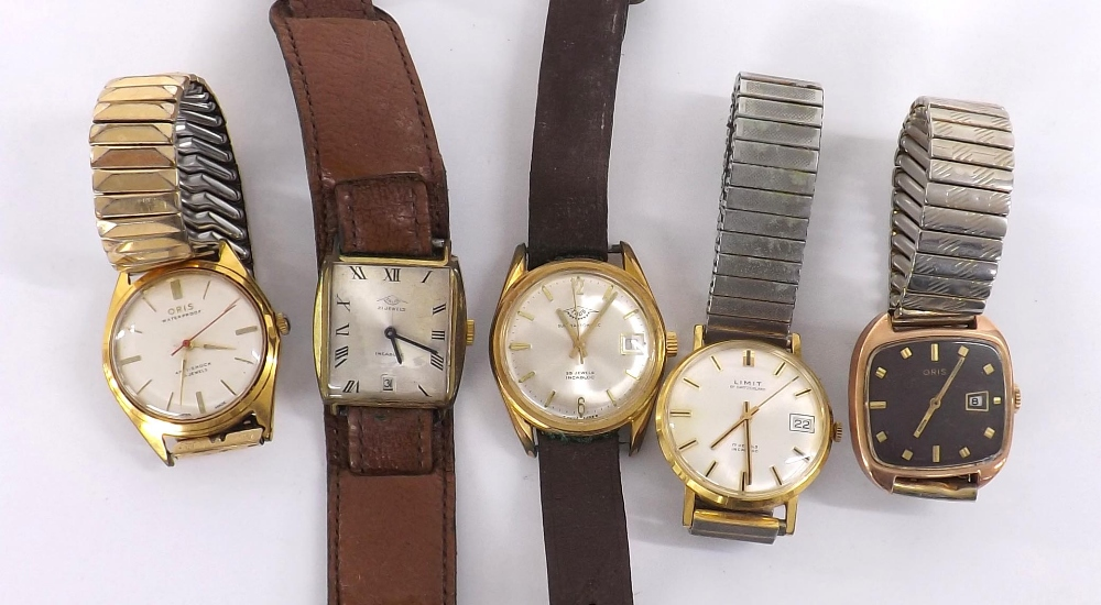 Lot 1892 - Five gold plated gentlemen's wristwatches to include Oris, Talis and Limit