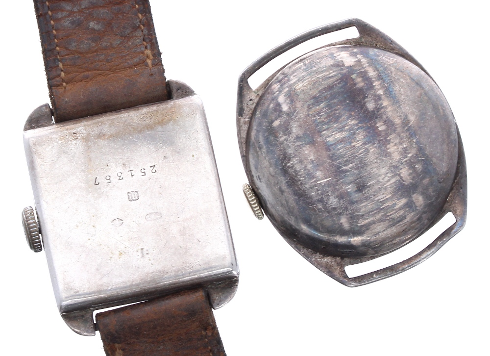 Lot 1921 - Rotary silver square cased gentleman's wristwatch for repair, 26mm; together with an Everite